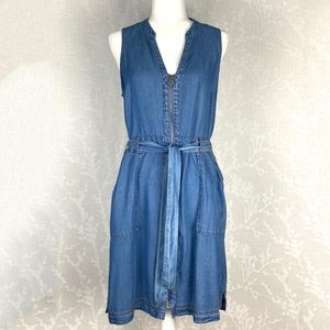 INC DRESS SZ 12 100% Lyocell Denim Blue Tie Waist